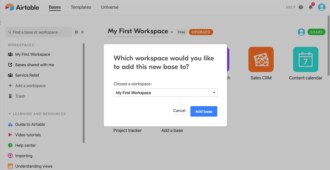 Workspace showing bases in Airtable